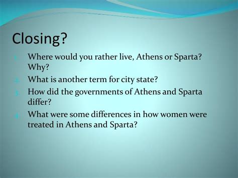 💄 How was living in athens different from living in sparta