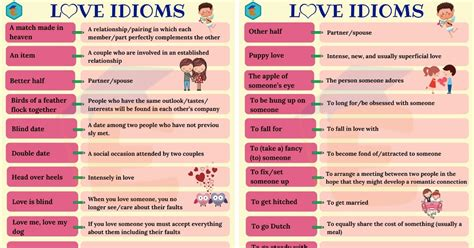 Love Idioms: 30 Popular Idioms about Love in English