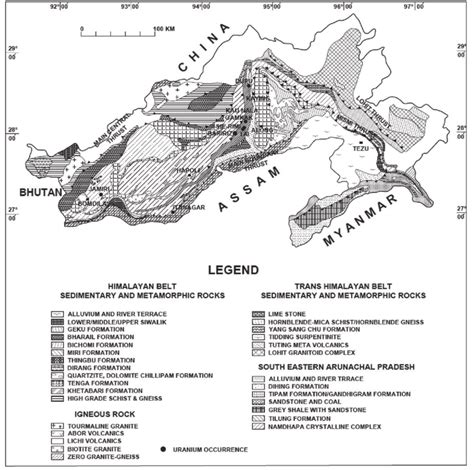 Geological Map of Arunachal Pradesh showing significant