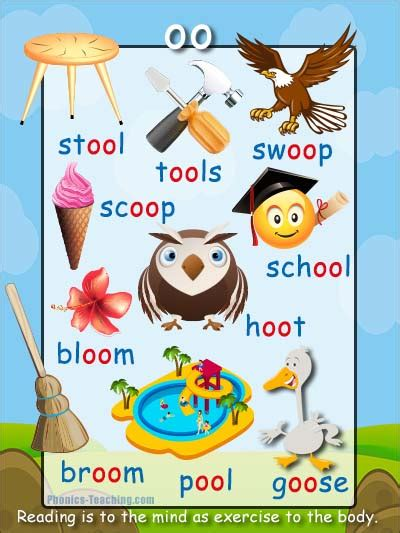 oo words - oo sound Phonics Poster - Words with oo