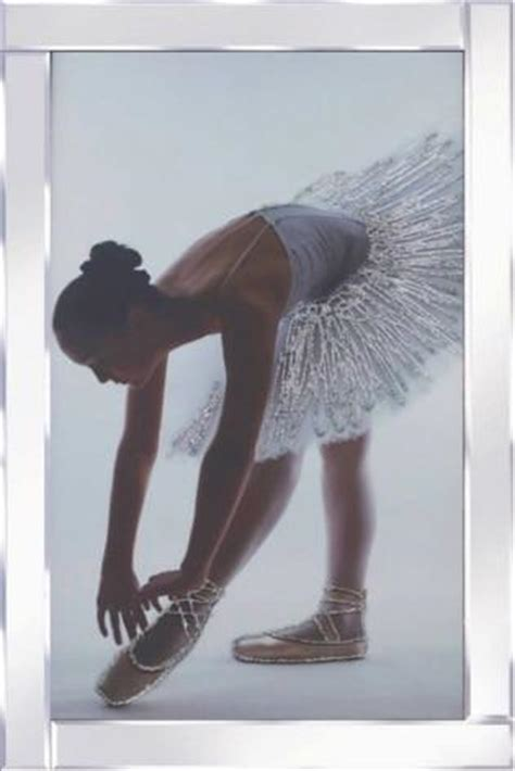 Ballerina Liquid Glass Wall Art Picture With Mirrored Frame