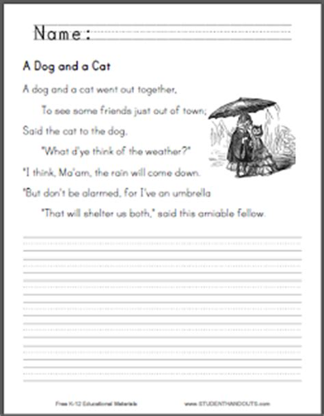 A Dog and a Cat Nursery Rhyme Worksheets | Student Handouts