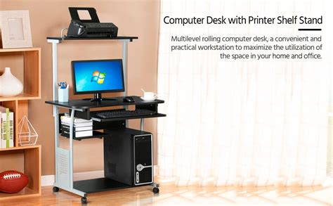 Yaheetech 2 Tier Rolling Computer Desk w/Keyboard Tray and