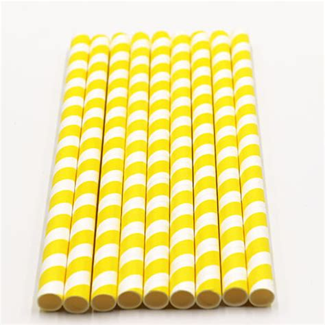 Yellow Stripped Colossal Bubble Tea Paper Straws