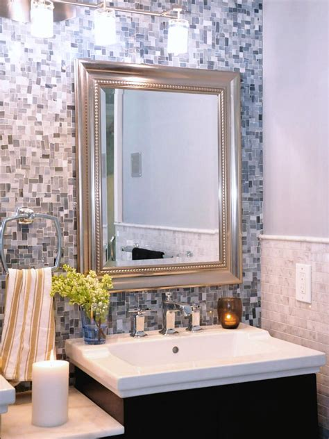 Neutral Transitional Bathroom With Gray Mosaic Tile Wall