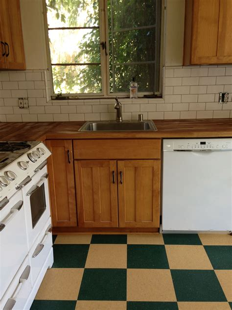 subway tile, green and yellow checkerboard, butcher block