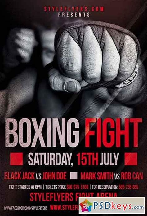Boxing Fight PSD Flyer Template + Facebook Cover » Free