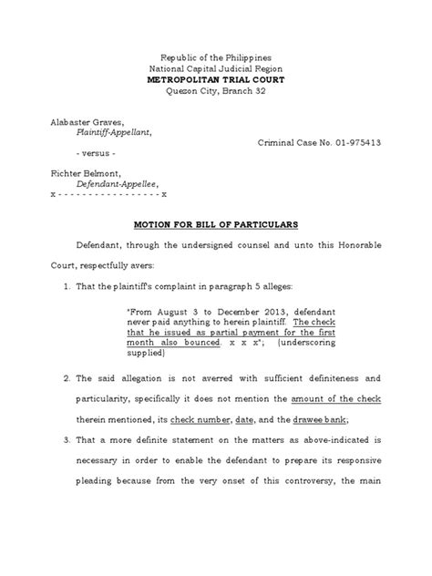 Motion of Bill of Particulars CRIMPRO 2014 | Cheque | Pleading