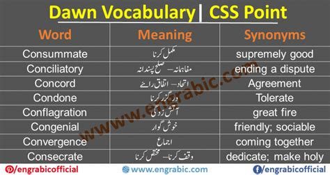 CSS Vocabulary List in Urdu Meanings PDF   Dawn Vocabulary