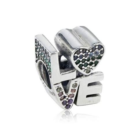 New 925 Silver Jewelry Bead Accessories pave CZ Color LOVE