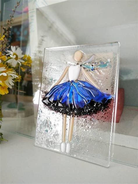 Fused glass wall art Ballerina fused glass pucture gift