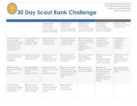 30 Day Challenge Scout Rank - OC Boy Scouts