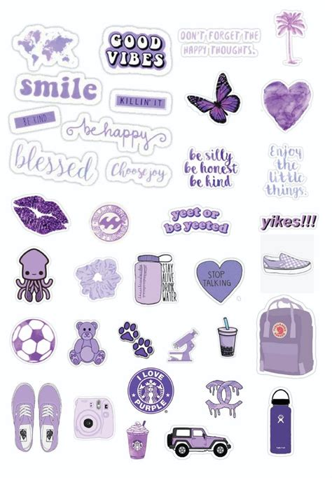 Purple PNGs | Aesthetic stickers, Preppy stickers